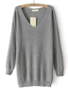 Grey V Neck Long Sleeve Loose Knit Sweater - Fashion Clothing, Latest Street Fashion At Abaday.com
