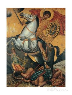 St George And The Dragon Poster Print Saint George And The Dragon, Horse Posters, Religious Paintings, Poster Prints, Art Prints, Catholic Art, Art Icon, Orthodox Icons, Sacred Art