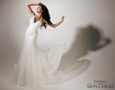 White Αllover soft Lace style A line by Tony Bowls T 113238 Tony Bowls, Bridal Dresses, One Shoulder Wedding Dress, Lace, Collection, Style, Fashion, Bride Gowns, Wedding Gowns