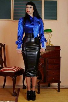 Nice royal blue satin bow blouse, with a delicious high-waisted leather hobble skirt. Sexy Skirt, Dress Skirt, Black Leather Pencil Skirt, Leather Skirts, Sexy Rock, Latex Skirt, Hobble Skirt, Bow Blouse, Satin Bows