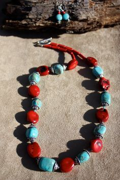 Show Stopper! Turquoise Necklace, Beaded Necklace, Beaded Bracelets, Earring Set, Bamboo, My Etsy Shop, Coral, Beads, Jewelry