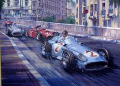 Fangio leading The Ferrari of Castellotti and team mate Stirling Moss at the start of the 1955 Monaco Grand Prix