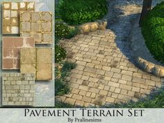 This set contains 5 terrain paints. Found in TSR Category 'Sims 4 Terrain Paints Sets' Source: Pralinesims' Pavement Terrain Set Sims 4 Traits, Sims 4 Game Mods, Sims Games, The Sims 4 Packs, Muebles Sims 4 Cc, Sims 4 Bedroom, Sims 4 Gameplay, Sims Building, Sims Four