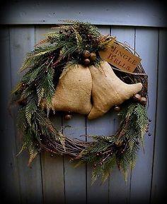 Primitive Burlap Bells Shabby Christmas Wreath with Berries Jingle Bells