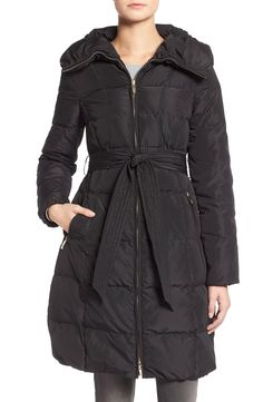 Eliza J Pillow Collar Belted Down Coat