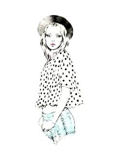 Fashion illustration - pretty fashion drawing of a girl in a polka dot top & shorts