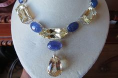 Huge Estate 217.95ct Tanzanite kunzite & Diamond 14k yellow gold necklace choker #Custom #Choker