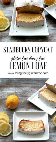 Moist with the perfect amount of lemon and sweetness this easy to make lemon loaf is gluten free and dairy free but tastes just like the Starbucks version. www.livingfreelyglutenfree.com