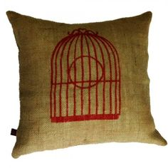Pink bird and cage print on jute cushion cover. $51