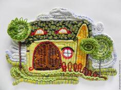 """Купить панно """"Сказочный домик"""" - сказочный, сказочный домик, панно с городом, декоративное панно"""