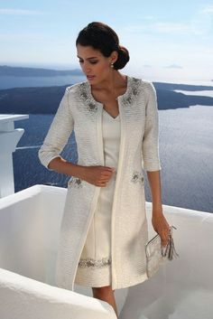 Linea Raffaelli Santorini Boutique Collection — Set 102 (Quick Delivery) — Any Occasion - Linea Raffaelli Santorini Boutique Collection — Set 102 (Pictured with shift dress and coat) Source by belluchiii - Mother Of Bride Outfits, Mother Of Groom Dresses, Mothers Dresses, Mother Of The Bride, Mode Outfits, Dress Outfits, Fashion Dresses, Beige Dress Outfit, Mob Dresses