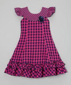 Roberto Toscani Pink & Navy Gingham Ruffle Dress - Toddler & Girls | zulily