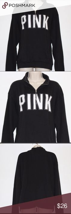 "PINK Victoria's Secret Quarter Zip Pullover Size L PINK Victoria's Secret Black quarter zip Pullover with kangaroo pocket. Size Large. Armpit to armpit: 24"" Length: 25"" PINK Victoria's Secret Tops Sweatshirts & Hoodies"