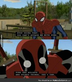 I love that they got Deadpool into this show. Yeah, they sugar-coated him, but it's a kid show. And I think they still stayed pretty true to the character. Marvel Jokes, Marvel Funny, Marvel Dc Comics, Funny Comics, Deadpool Funny, Deadpool And Spiderman, Spideypool, Dc Memes, Marvel Universe
