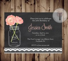 Chalkboard lace birthday invitation, mason jar invitation, elegant, adult birthday, 30th birthday, 40th, 21st birthday, party invitation on Etsy, $12.99