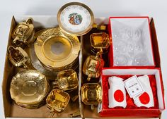 """Lot 378: Bavarian China and English Crystal Assortment; Including (8) Royal Brierley """"House of Windsor"""" crystal glasses, an Arzberg Porcelain Factory 24k gold plated set of (6) dessert plates, (8) coffee cups, (8) saucers, (2) sugar bowls with lids, a creamer and two sets of shakers, and (6) 22k gold decorated American """"Crest-o-Gold"""" plates"""