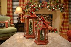 Kristen's Creations: Christmas Tree Lanterns. this is a cute idea, find cheep lanterns and Christmas village piece inside