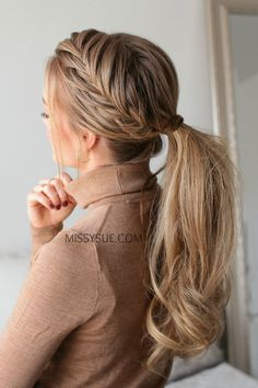 Fishtail French Braid Ponytail Hairstyles 2020 New hairstyles and hair colors French Braid Ponytail, Braided Ponytail Hairstyles, Box Braids Hairstyles, French Braids, French Fishtail, French Hair, French Braid Styles, Elegant Ponytail, Hairstyle Braid