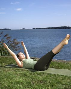 Double Leg Stretch- What it does: Focuses on the abs, working all the muscles; strengthens the psoas muscle (connects the lower spine to the hip).