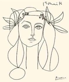 Pablo Picasso drawing of Francoise Gilot - the only woman to survive a relationship with Picasso & an excellent artist in her own right. Description from pinterest.com. I searched for this on bing.com/images