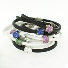 Bracciali in pelle  Leather bracelets  made with SWAROVSKI ZIRCONIA #swarovski  www.blooblood.com