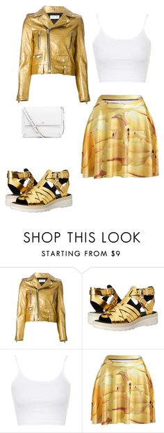 gold&white by modelier on Polyvore featuring мода, Topshop, Yves Saint Laurent, Circus By Sam Edelman, Tory Burch, women's clothing, women's fashion, women, female and woman
