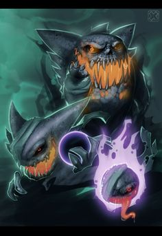 #Pokédex (092) Gastly, (093) Haunter and (094) Gengar - by *sangheili117 #deviantART