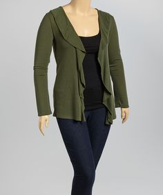Another great find on #zulily! Green Ruffle Open Cardigan - Plus by Poliana Plus #zulilyfinds