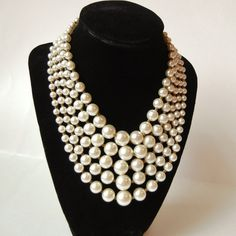 Vintage 5 Strand Faux Pearl Bib Necklace Signed by RescuedTreasure, $28.00
