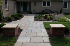 Patio constructed with bluestone. #TopekaLandscape