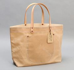 STANLEY & SONS: Waxed Canvas Tote Bag w/ Leather Handles, Natural