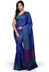 Dark Blue Banarasi Pure Silk Saree with Blouse