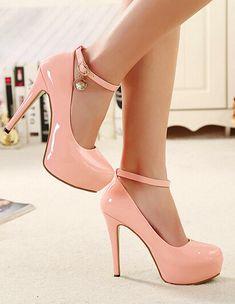 Pink Ankle Strap Design High Heels