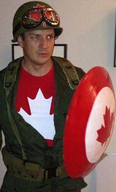 Nathan Fillion's Halloween costume: Captain Canada. This is why Nathan Fillion is awesome. Nathan Fillion, Soirée Halloween, Halloween Costumes, Superhero Halloween, Halloween Fashion, The Maxx, Hetalia, Nerd Love, Star Wars