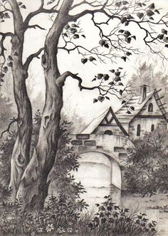 Pen and Ink Cross Hatching Masters Edition Pencil Sketches Landscape, Pencil Sketch Drawing, Landscape Drawings, Pencil Art Drawings, Sketch Painting, Watercolor Landscape, Landscape Art, Landscape Paintings, Pencil Shading