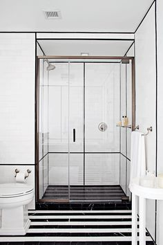 Interior home design ideas image ANN SACKS White Thassos x marble field in honed finish with Nero Marquina x field and x White Bathroom, Bathroom Interior, Master Bathroom, Washroom, White Shower, Bathroom Modern, Shower Bathroom, Design Bathroom, Shower Doors