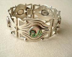 Beautiful Mexican Sterling Silver and Abalone Link Bracelet