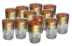 Badia Design Inc Store - Gold Floral Motif Clear Tea Glasses TG033, $72.00 (http://www.badiadesign.com/gold-floral-motif-clear-tea-glasses-tg033/)