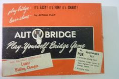 Vintage Card Game 50's Auto Bridge Play Yourself Bridge Game Beginners Set Made in USA by ZoomVintage on Etsy