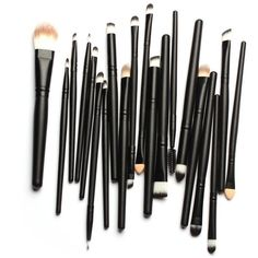 Bienaime Professional Makeup Brush Set Cosmetics Foundation Blending... (9.65 CAD) ❤ liked on Polyvore featuring beauty products, makeup, beauty, filler, powder brush, black beauty products, kohl makeup, powder brush makeup and black makeup
