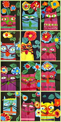 """Laurel Burch Cat Project- OH standard 4PE I can recognize the work of Laurel Burch (CA artist) 1PR I can skillfully cut and paint a cat that creatively expresses me (fun Art prompt: """"if I were a colorful cat how could I hide in a flower garden?"""")"""
