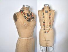 Long Wood Beaded Necklace / Boho Ethnic by badbabyvintage on Etsy