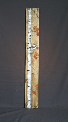 Fall Reclaimed Wood Pallet Art, TALL Handpainted White Birch Chickadee bird, upcycled, Wall art, Distressed