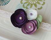 Purple, Lilac, and Cream Handmade Satin Flower Baby Headband on Cream Lace Elastic- Sweet Vintage Look for Infants
