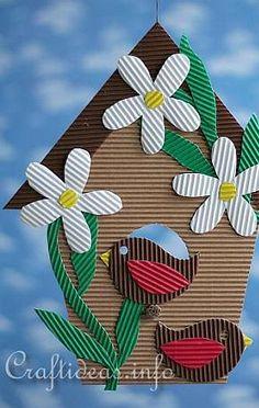 Cardboard Bird House Crafts Idea For Kids