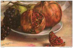 Belle illustrée signée Carlo CHIOSTRI ( RARE ) grenades et raisins
