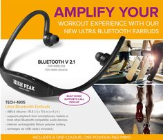 Whether you're at the gym or hitting the tracks, our Ultra Bluetooth Earbuds will amplify your workout experience.  Featuring a built-in mic that allows you to pick up calls, these earbuds also support playback from smartphones, tablets or most other Bluetooth compatible audio devices and include an internal, rechargeable lithium polymer battery.  To give your brand a boost, receive a one-colour, one-position pad print with each unit ordered. Branding setup cost applies. BEST BRANDING Electronic Gifts, Bluetooth Headphones, Stylus, Cell Phone Accessories, Smartphone, Audio, Abs, How To Apply, Branding