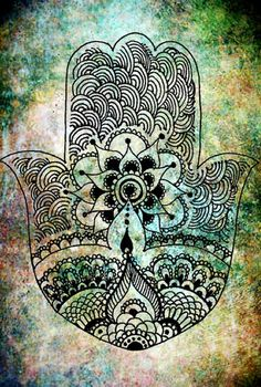 hamsa, this would be a cool tattoo with a water color background.