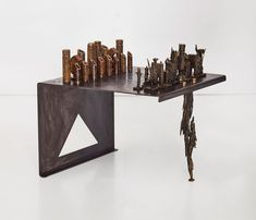 The Spirit of the Forest Bronze, mild steel 70 x 70 x 49 cm (table without chess pieces). Tallest chess piece is 20cm in height One-Off Chess Pieces, Stone Heart, Glazed Ceramic, Sculptures, Objects, Porcelain, Spirit, Bronze