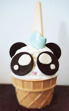 Vanilla ice cream and split up Oreo cookies make a simple yet cute panda for the kids